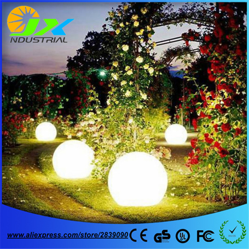 led outdoor wedding decoration remote ball/ led outdoor floor lamp waterproof IP65 rechargeable PE material round balls light pe plastic outdoor waterproof illuminated color changing shark led stand floor lamp with remote control for garden decoration
