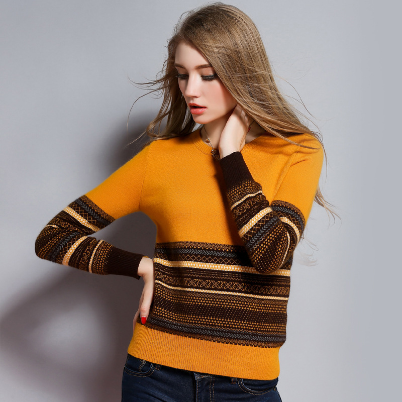 Women Cashmere Sweater Soft Warm Knitted Color Block Sweaters 2016 ...