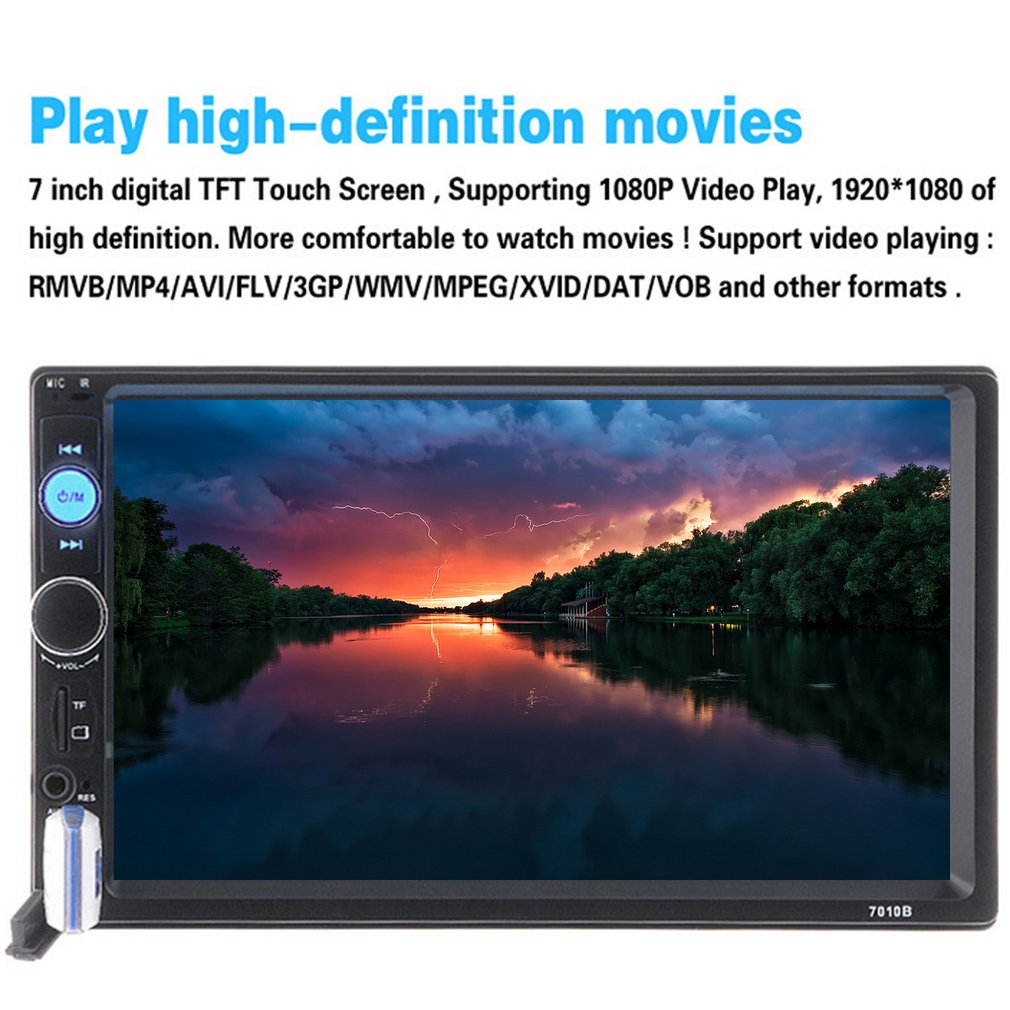 7 Inch Dual Din Car Styling MP5 Player FM Radio Support Card-Reading Function & Bluetooth Hands-free Call & Car Backing First 7inch touch screen support hands free calls car stereo radio mp5 fm player with gps function 420 tv lines ir camera