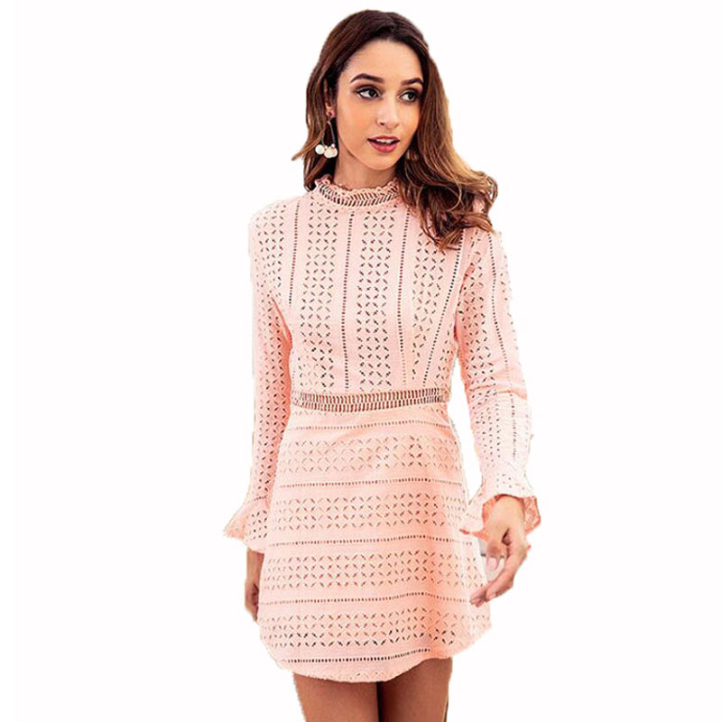 Women's Turtleneck Dresses Solid Long Flare Sleeve Female Elegant Lace Hollow Out Empire Dress Autumn Women Sheath Mini Dress