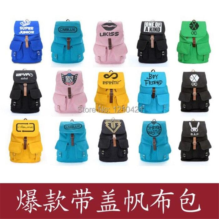 1Pcs Fashion New KPOP Backpack Rucksack Canvas EXO BIGBANG SJ Travel Satchel Shoulder Bag School Bookbags