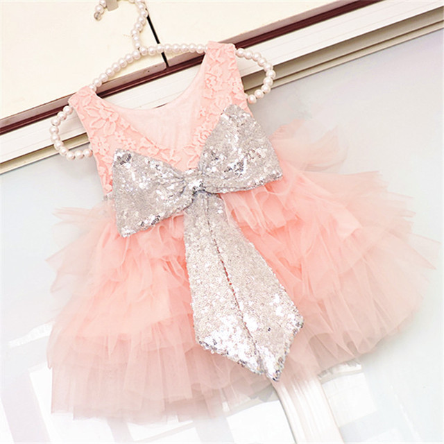 Baby Infant Toddler Birthday Party Dresses Blush Pink Rose Gold