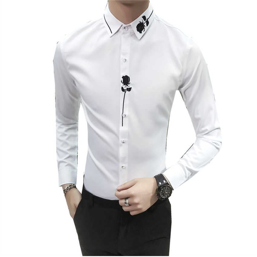 dbe68d3a167 New Men Long Sleeve Embroidered Dress Shirt Fashion Rose Decoration Party  Men s Shirt Size S M L XL