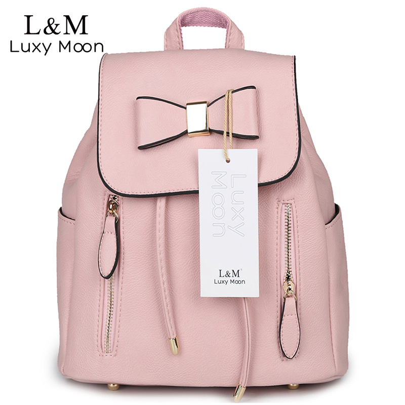 2017 Fashion Bow Leather Backpack Sweet Lady Pink Backpacks Black Drawstring High Quality Casual Bags Daily brown mochila XA471H vans wm realm backpack pink lady ph
