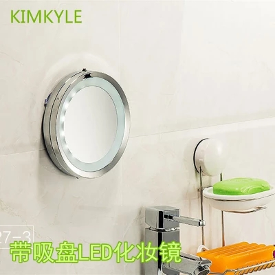 6 inch Bath Mirrors With lamp LED cosmetic mirror metal toilet bathroom  mirror 5X magnifying glass Suction cups on the wall. Suction Cup Mirror Bathroom Promotion Shop for Promotional Suction