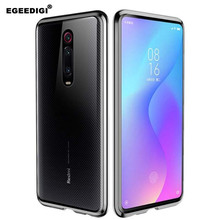Egeedigi Dual Glass Magnetic Metal Case For xiaomi Redmi K20Pro transparent Back Cover K20 Full Body magnet