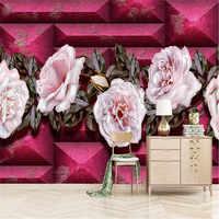 3D tapete kreative rosa rose wand professional machen wandbild foto tapete