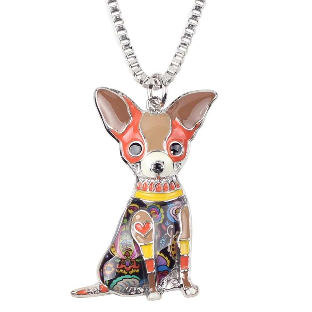 Bonsny Statement Maxi โลหะ Chihuahuas สุนัข Choker สร้อยคอจี้คอแฟชั่นใหม่เครื่องประดับสำหรับผู้หญิง