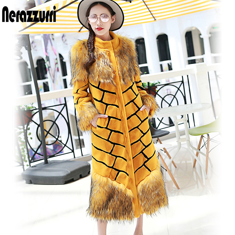 Нерадзуррі жіноча надзвичайно довга штучна шуба жовто-чорна смугаста пальто печворк пухнаста барвиста максі фальшива хутряна вулична одяг