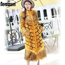 Nerazzurri Women extra long faux fur coat yellow and black stripe overcoat patchwork fluffy colorful maxi fake fur streetwear