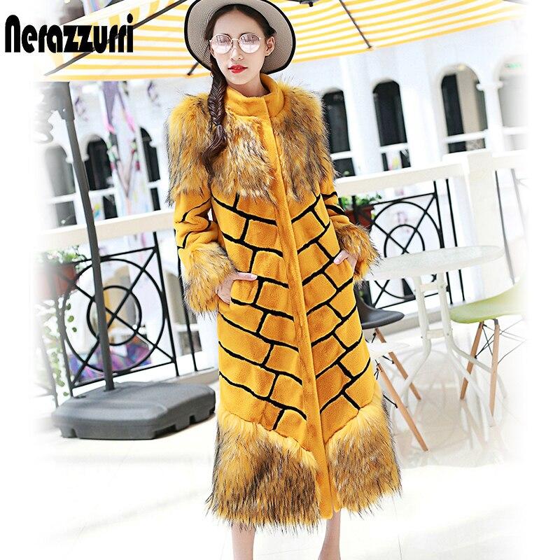 Nerazzurri, женское удлиненное пальто из искусственного меха, желтое и черное пальто в полоску, пэтчворк, пушистое, цветное, макси, искусственный мех, уличная одежда