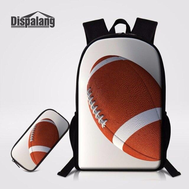 a92ac78654 Moda 2 Pçs set Dispalang Bolas de Futebol Americano Prints Backpack Para  Estudantes Primários Sacos