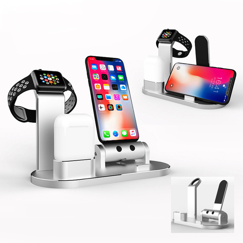 3 en 1 Bluetooth écouteurs alliage support de charge pour Apple Watch pour AirPods Station de charge chargeur rapide pour iPhone X/8 8 plus