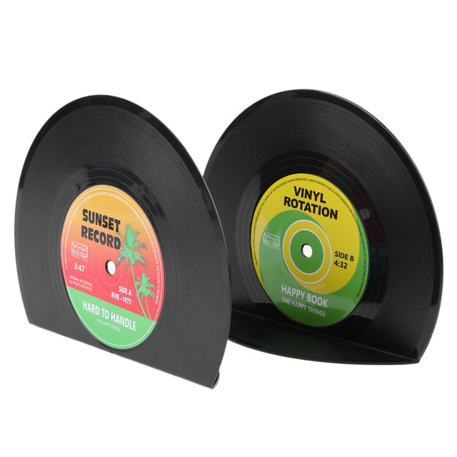 2pcs Creative Vinyl Record Shaped Book Shelves Holders Retro Style Shelf Organizer Home Office