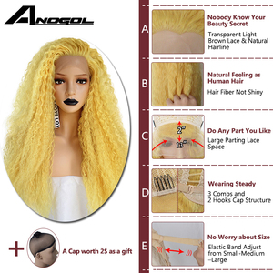Image 5 - Anogol Yellow Synthetic Lace Front Wig Natural Long Kinky Curly Wig for Women Free Part High Temperature Fiber