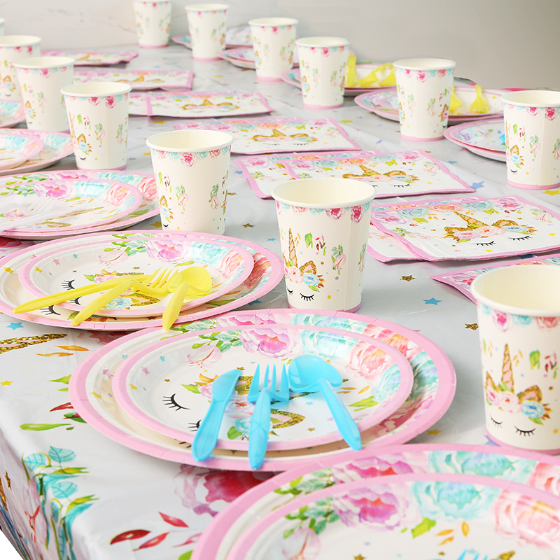 Unicorn Birthday Party Decor Balloon Paper Cups Plates Unicornio 1st 2st Birthday Decorations Kids Baby Shower Party Supplies in Party DIY Decorations from Home Garden