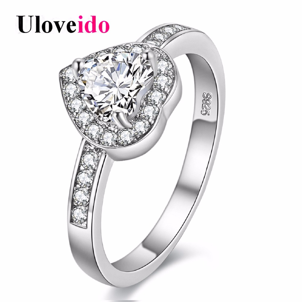 buy 15 off women 39 s heart silver promise rings wedding band girls bague argent. Black Bedroom Furniture Sets. Home Design Ideas