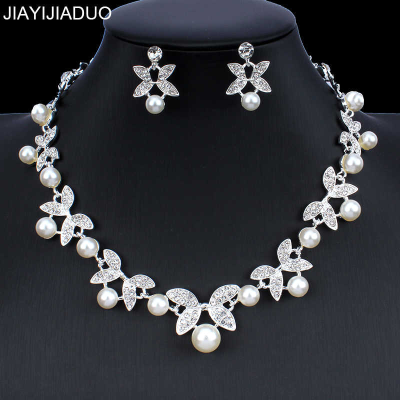 jiayijiaduo African Faux Pearl Wedding Jewelry Set for Glamour Women's Clothing Accessories Necklace Earrings Set Silver Color