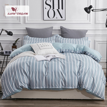 SlowDream Blue Bedspread Nordic Bedding Set Bed Flat Sheet Double Duvet Cover Linens Euro Pillowcases 3/4pcs