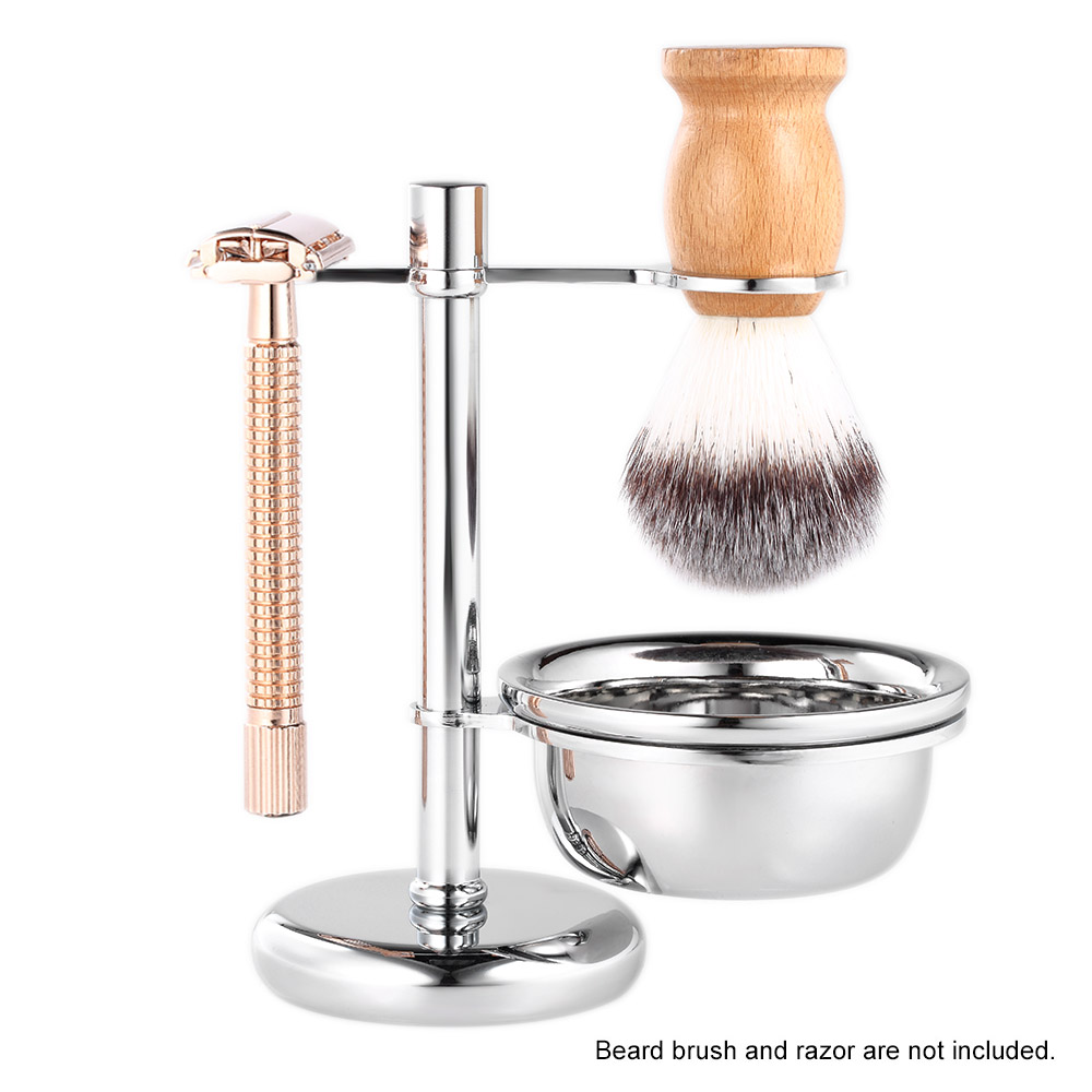 2 in 1 Shaving Holder Stainless Steel Shaving Brush Stand & Shaving Soap Bowl Men's Shaving Kit Male Shaving Tool Set