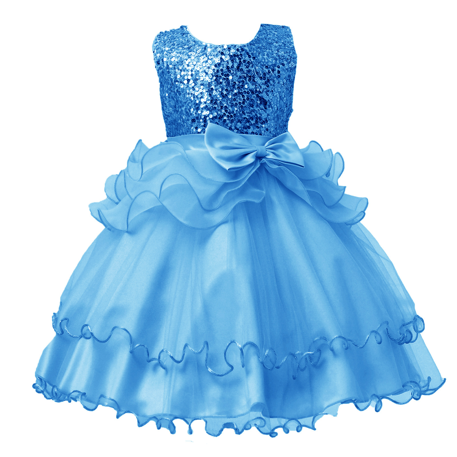 2017 New Spring Children Dress Sequins Princess Bow Wedding Flower Girl Birthday For Girls Dresses 3