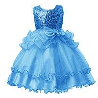 2017 New Spring Children Dress Sequins Princess Bow Wedding Flower Girl Birthday For Girls Dresses 3