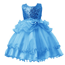 2017 New Spring Children Dress Sequins Princess Bow Wedding Flower Girl Birthday For Girls Dresses 3 5 Colors Available