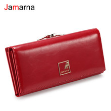 Jamarna Wallet Female PU Magnetic Buckle Coin Purse Clasps Purse Red Wallet Women Long Clasps Closure Card Holder Clutch New(China)