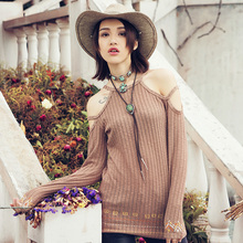 [AIGYPTOS-Aporia.As]Autumn Women National Trend Embroidery Slim Sexy Hollow Out Strapless Long Pullover Knitting Sweater TShirts