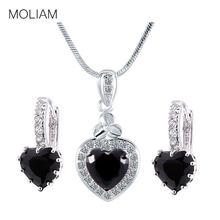 d230c155d836 Moliam clásico negro ZIRCON Pendientes collar Juegos de joyería plata color  moda Colgantes conjunto mle003b + mlp007b