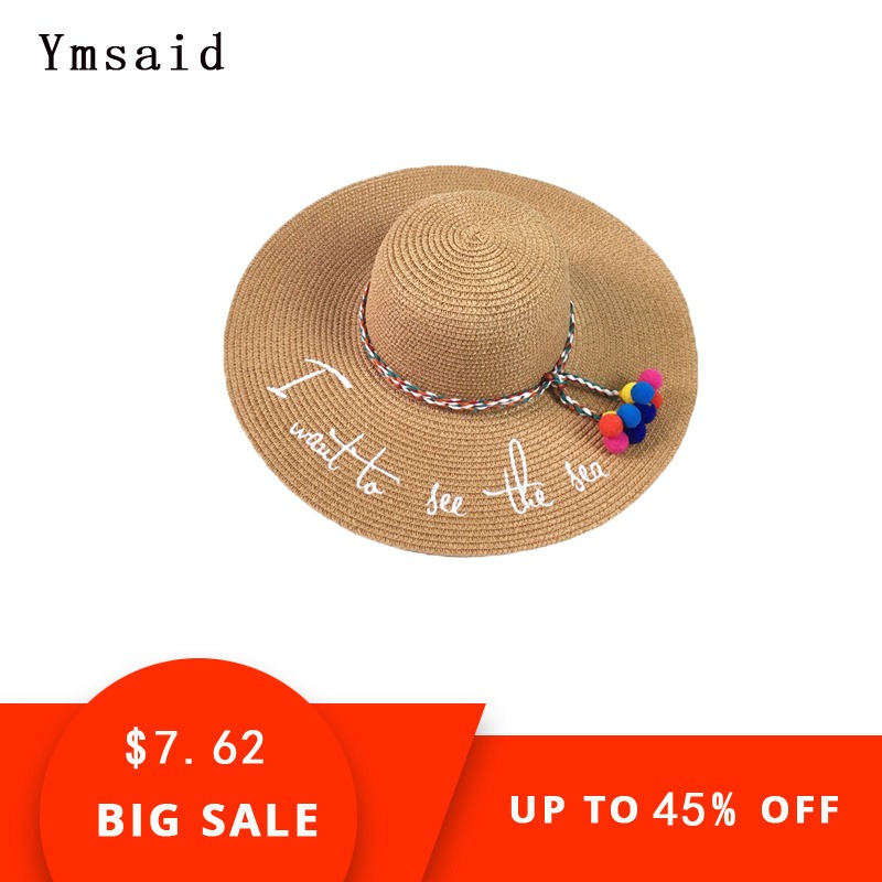 Beach Caps 2019 Summer Embroidery Cap Big Brim Ladies Summer Straw Hat Youth Hats For Women Shade Sunhat Beach Caps Leisure Sports & Entertainment