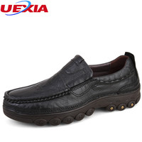 Plus Size 47 Full Grain Leather Autumn Winter Russian Casual Men Shoes Plush Handmade Warm Snow