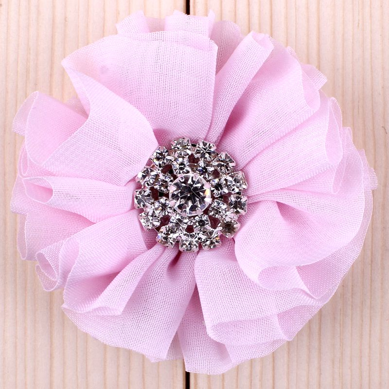 Image 4 - (120pcs/lot)2.8 15 Colors Fluffy Ruffled Flower For Hair Clips  Chic Chiffon Metal Alloy Button Flower Accessories For Kidsbutton  pressbutton elevatorbutton french