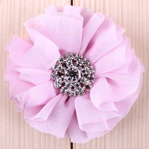 "Image 4 - (120pcs/lot)2.8"" 15 Colors Fluffy Ruffled Flower For Hair Clips Chic Chiffon Metal Alloy Button Flower Accessories For Kids"