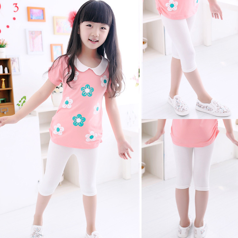3-10years Girls Knee Length Kid Five Pants Candy Color Children Cropped Clothing Spring-Summer All-matches Bottoms Leggings 4