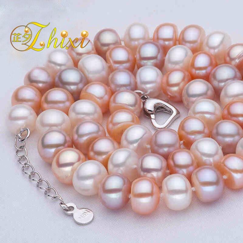 4784cdcca475 Zhixi real de agua dulce collar de perlas Joyería fina 9-10mm blanco perla  natural gargantilla clásico piedra Cuentas para las mujeres  f004