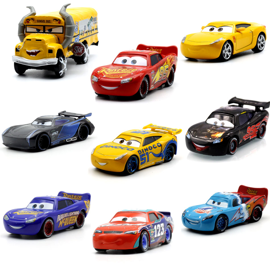 Disney Pixar Cars 3 Lightning McQueen Jackson Storm Dinoco Cruz Ramirez 1:55 Diecast Metal Toys Model Car Birthday Gift For Kids disney pixar cars 3 new lightning mcqueen jackson storm cruz ramirez diecast alloy car model children s day gift toy for kid boy