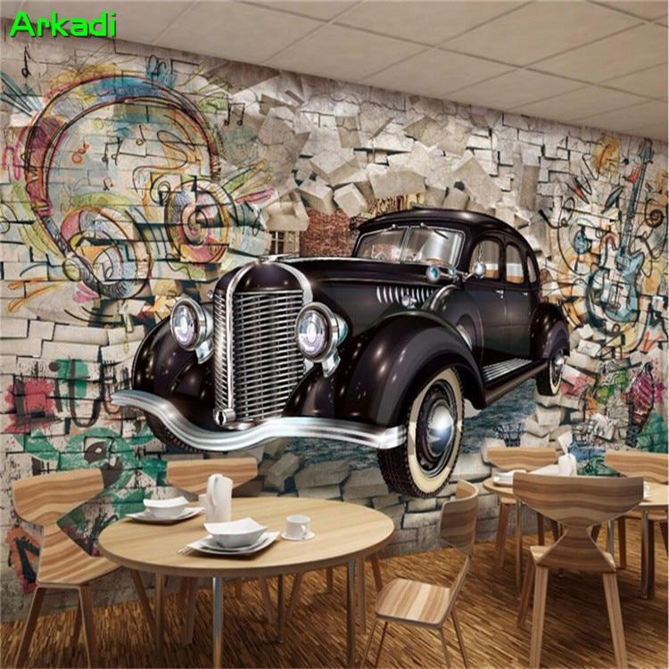Custom Photo Wallpaper Mural Retro Vintage Car Graffiti Brick Wall 3D Restaurant Bar Mural Wall