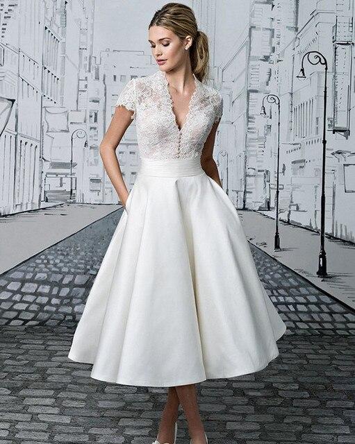Vestido De Noiva 2017 China Bridal Gowns Simple Vintage Lace Short ...