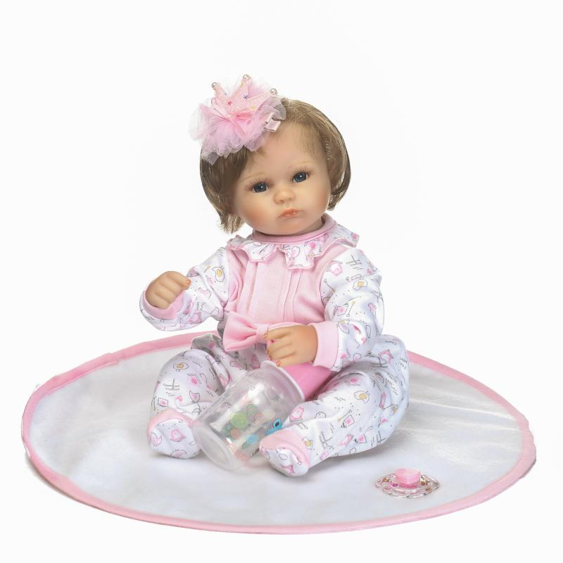 18inch 40cm Silicone Reborn Bebe Doll Sweet Reborn Baby Doll with New Fiber Hair Soft Touch Best Gifts for Children on Birthday18inch 40cm Silicone Reborn Bebe Doll Sweet Reborn Baby Doll with New Fiber Hair Soft Touch Best Gifts for Children on Birthday