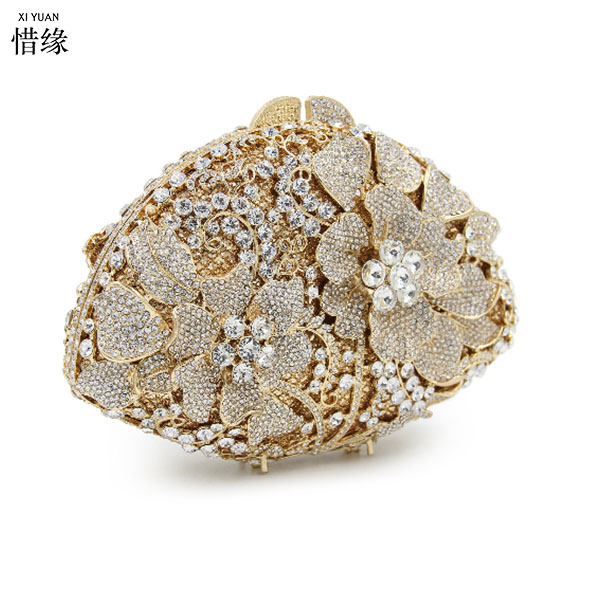 Bridal Metal Clutch Floral Bag Women Crystal Gold Evening Bag Wedding Party Handbags Purse Lady Diamond Rhinestone Clutches gold silver clear crystal diamond women evening bag metal clutches bag wedding party bridal clutch purse chain shoulder handbags