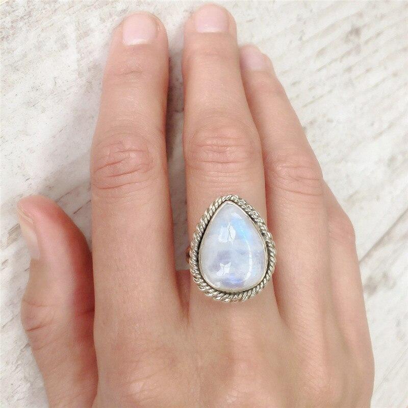 New Moonstone Rings For Women Hyperbole Vintage Ring Water ...