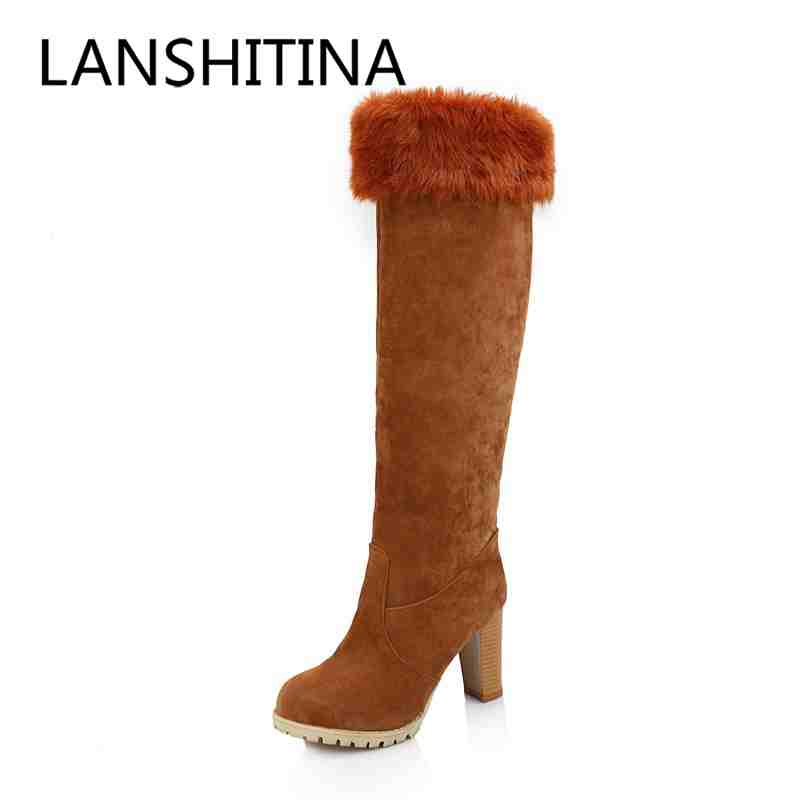 Sweet style women boots Slip-On Round Toe high heels Knight boots Flock leather Knee-High Platforms long winter boots size 34-43 enmayer green vintage knight boots for women new big size round toe flock knee high boots square heel fashion winter motorcycle