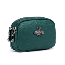 100% Genuine Leather Coin Purse Women Small Wallet Hot Bee Decoration Double Zipper Change Pouch Ladies Clutch