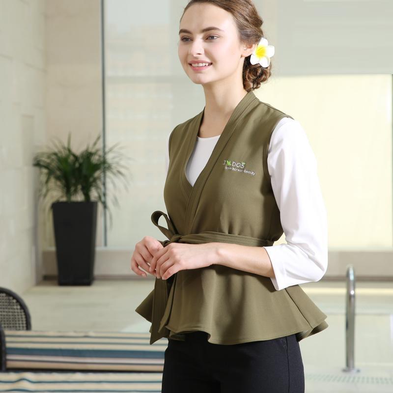 SPA Uniforms 2020 White T Shirt+Flouncing Vest+Black Pants 3pcs Set Club Work Clothes Western Restaurant Clothing Uniform