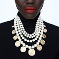 2018 Luxury Multi-layer Simulated Pearls Chain Choker Necklace Fashion Crystal Statement Necklace Droplets Long Jewelry XG233