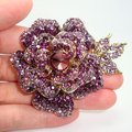 New Retro Elegance Gold-Plated Rose Flower Leaf Brooch Pin purple Rhinestone Crystal