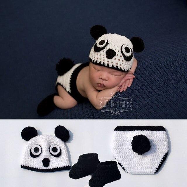 964a3c588b8 Newborn Unisex Baby Panda Knit Costume Crochet Panda Hat   Diaper and Boots  Set Infant Photo Props Crochet Knit Baby Gift