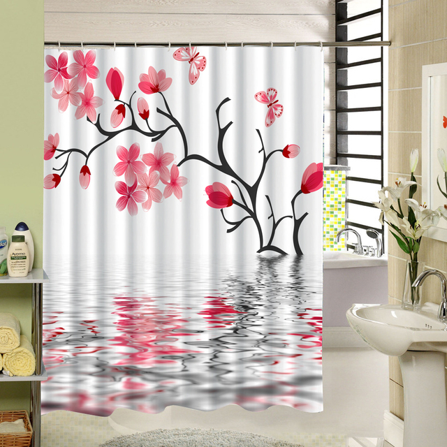 Waterproof Fabric Peach Blossom Extra Long Shower Curtain That Tree Grows In Water For Home Bath Decor Pink Meticulous Painting