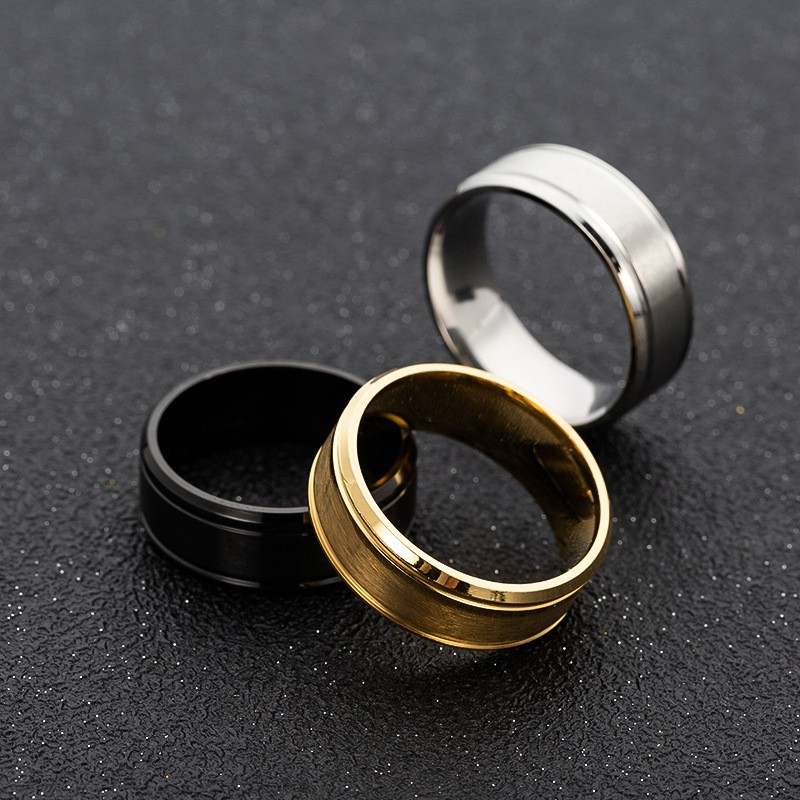 Купить с кэшбэком 316L Stainless Steel Ring Matte Double Bevel 8mm High Quality Gold Black Color Rings For Men Women Fashion Jewelry Gift